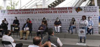 Firman Alcaldía Iztapalapa, Semovi y Transportistas acuerdo para viajar con protección y evitar contagios