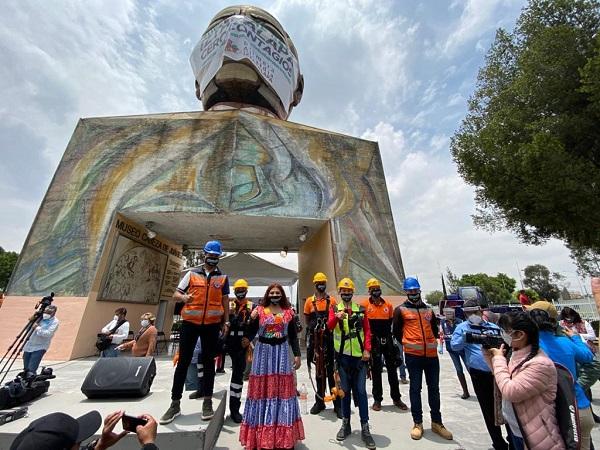 """Se suman tianguistas al reto """"Iztapalapa Cero Contagios; la Cabeza de Juárez se pone el cubrebocas"""