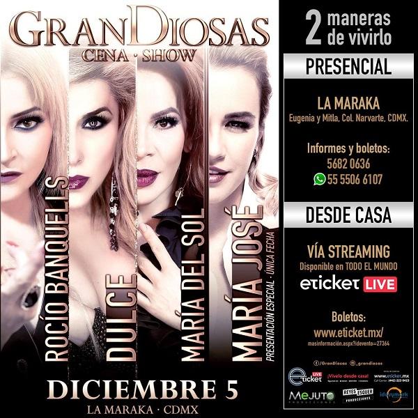 'GranDiosas', show presencial el sábado 5 de diciembre en La Maraka