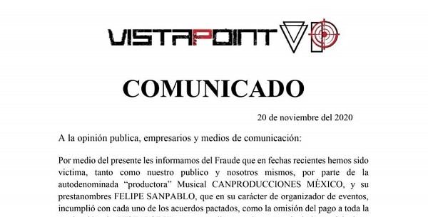Vista Point denuncia fraude de CANPRODUCCIONES MÉXICO y de Felipe San Pablo