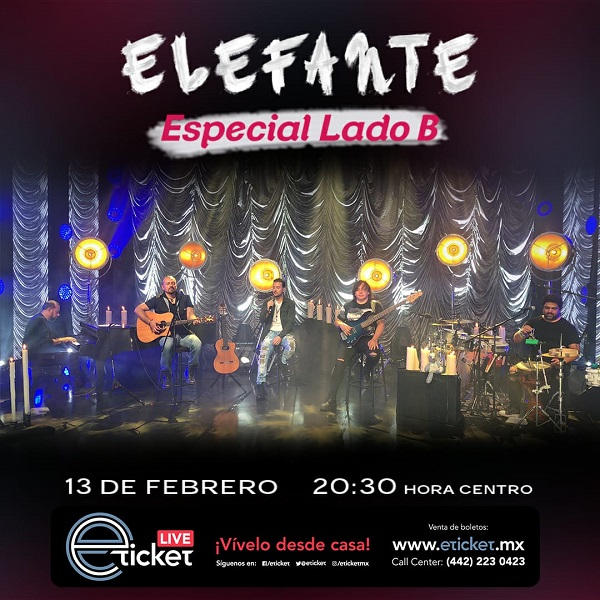 Elefante realizará show virtual 'Especial Lado B' basado en sus sencillos no tan famosos, este sábado 13 de febrero